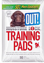 OUT puppy training pads with moisture lock