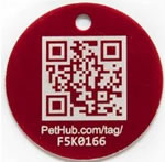 color image of red PetHub Smartphone ID Tag